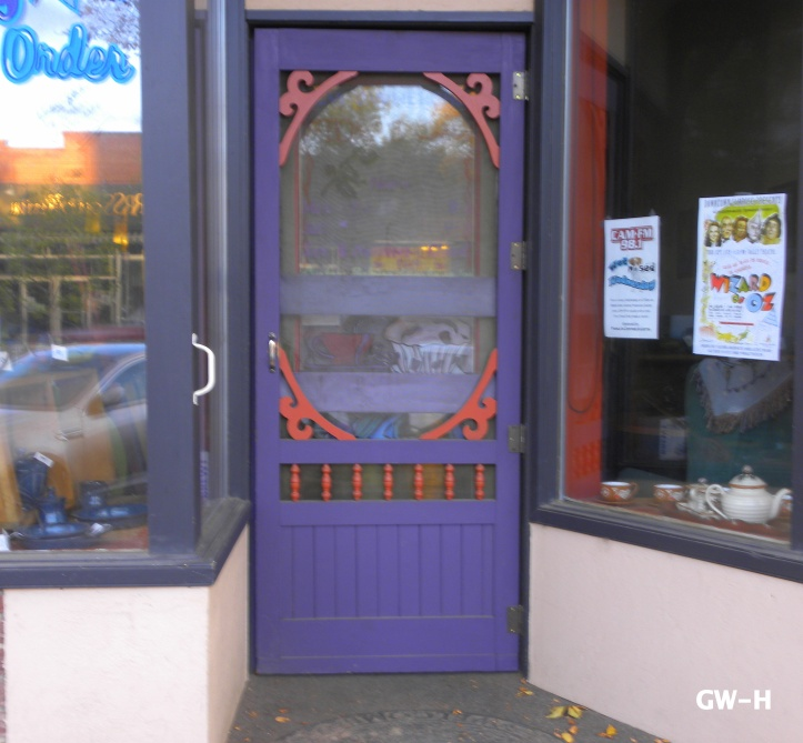 The closest I could come to Norm's blue door is this purple one at Fiona's Coffee shop here in Camrose