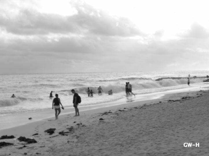 Bahama beach and Atlantic Ocean horizon