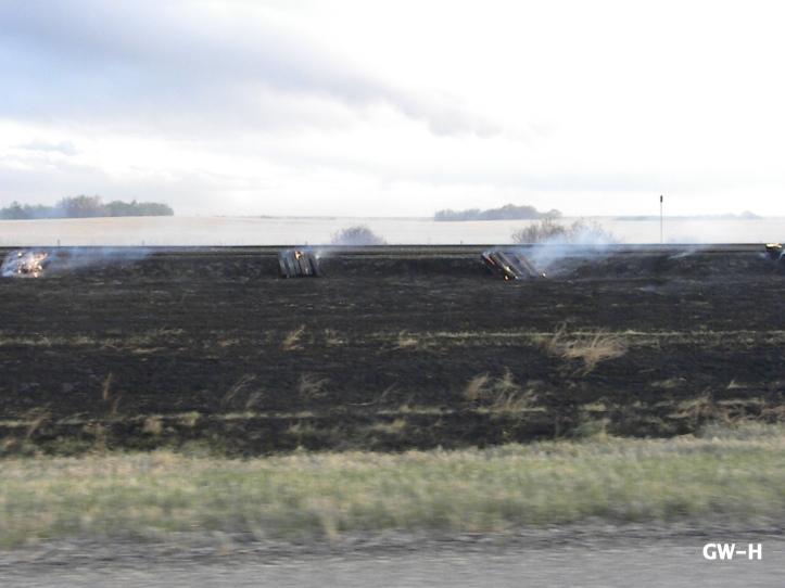 Burning old railroad ties